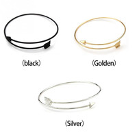 New Design Simple Style Arrows Bracelet New Nice Fashion Gothic Punk Arrow Bangle Women Gold Silver Plated Bracelet