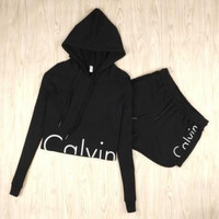 "[On Sale] (2 Piece Set) "" Calvin Klein "" Fashion Long Sleeve Crop Print Shirt Top Shorts Casual Shirt (hoodie or no hooddie) _ 3164"