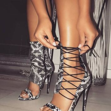 Snakeskin Print Lace-up High Heeled Sandals