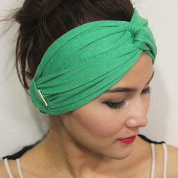 Twist Workout Headband Strechy head wrap,exercise Turban,Green Plain Color Style