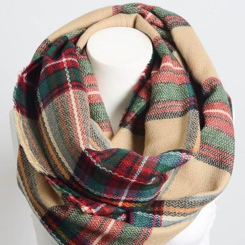 Tan Green Red Plaid Flannel Infinity Scarf