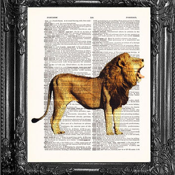 Memory of Cecil-Roaring Lion-Dictionary Print Vintage Book Print Page Art-Upcycled Antique Book Ar- Vintage Mixed Media Collage Book Art