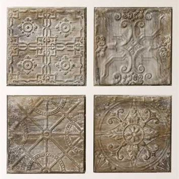 SQUARE EMBOSSED TIN TILE, ANTIQUE GREY FINISH, 4 STYLES
