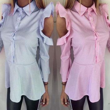 Black Blue Pink & White  Stripe Frill Cold Shoulder Shirt Blouse Top