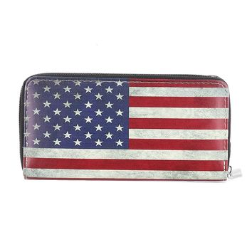 American Flag Print Faux Leather Wallet