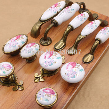 Vintage Ceramic Cabinet Knobs and Handles China Flower Furniture Hardware Handle & Knob