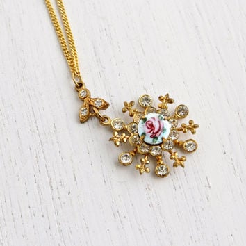Vintage Flower Rhinestone Necklace - 1950s Gold Tone Blue Guilloche Rose Enamel Costume Jewelry / Fleur de Lis Floral