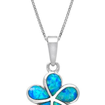 Sterling Silver Plumeria Flower Necklace Pendant with Synthetic Blue Opal (19mm)