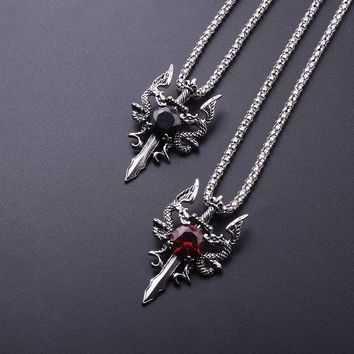 2017 New Rock Punk Double Dragon Cross Sword Pendant Necklaces Red Black Crystal Necklace for Men Jewelry Two dragon play beads