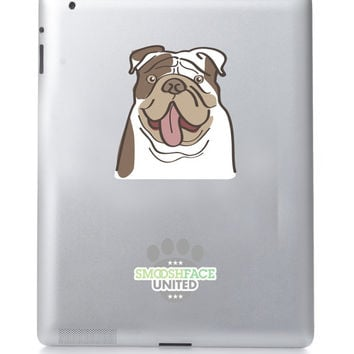English bulldog decal car sticker vinyl - silly bulldog tongue - Smooshface United: flat face breed bias bully love