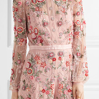 Needle & Thread - Meadow embellished tulle playsuit