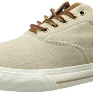 Polo Ralph Lauren Men's Vaughn Linen Sneaker, Natural, 7.5 D US