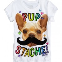 Rainbow Foil Monkey Mustache Graphic Tee | Girls Graphic Tees Clothes | Shop Justice
