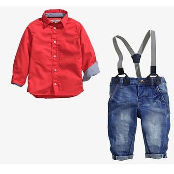 children's boy clothing boys clothes set long-sleeved red shirt + spaghetti strap bib jeans baby boy kids clothes