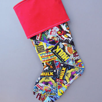 Comic Book Marvel Superhero Christmas Stocking, Super Hero Stocking, Marvel Stocking, Stocking, Fantasy Marvel Stocking, Marvel Stocking