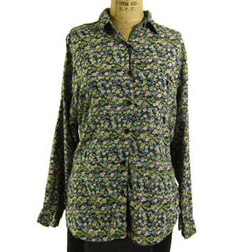 Vintage Floral Print Button Down Shirt - Oxford Blouse 90's Grunge Slouchy Top - Women's Size Medium Med M