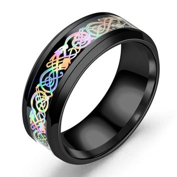 CAXXBY Brand stainless steel Colorful Dragon ring fine jewelry how to train your dragon for men Wedding Ring Carbon Fiber Ring
