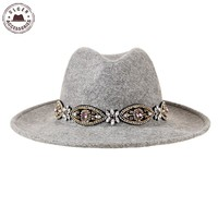 Ulgen Designed fashion vintage hat with jewelry beige wool fedora hat Bohemia women wool felt hat [HUL174g3200]