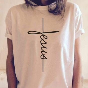 Women's Christian Jesus T-shirt with Vertical Cross Design
