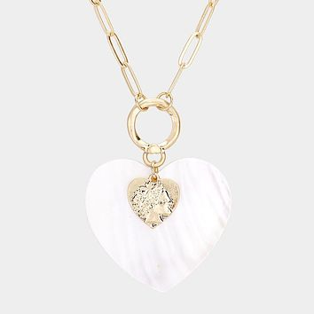 Heart Mother Of Pearl Pendant Long Link Chain Necklace