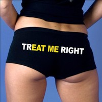 Hot Leathers TrEAT Me Right Ladies Boy Shorts (Black, Medium)