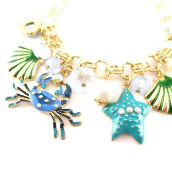 Blue Crab Starfish Seashell Jewels of the Sea Charm Bracelet | DOTOLY