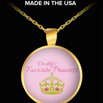 Daddy's Favorite Princess ~ Gold Crown Hearts ~ Round Pendant