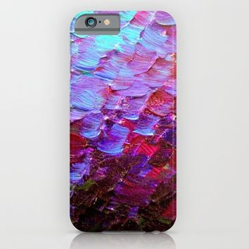 MERMAID SCALES - Colorful Ombre Abstract Acrylic Impasto Painting Violet Purple Plum Ocean Waves Art iPhone & iPod Case by EbiEmporium