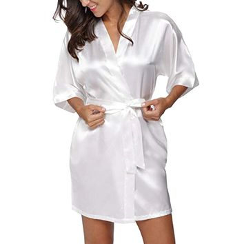 Elegant satin women kimono dress Half sleeve bandage sexy party dress Autumn winter sash wrap dress vestidos