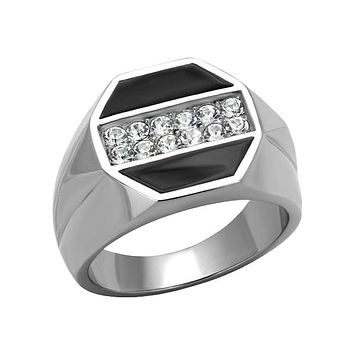 Big And Bold - Men's Stainless Steel Statement Ring With Black IP And Clear CZ Stones