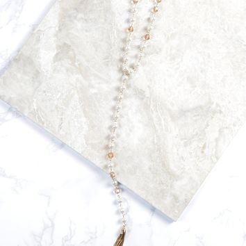 Pearl & Chain Tassel Necklace, Gold