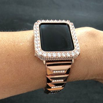 Apple Watch 38mm 42mm Band Womens Mens Series 1 2 3 Rose Gold Rhinestone Link Iced Out Bezel Case Cover Pave 2mm Lab Diamond Iwatch Bling