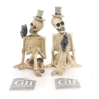 Halloween Seated Skeleton Figures Set/2 Halloween Figurine