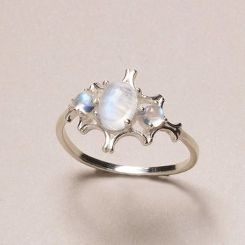 Rainbow Moonstone Gemstone Ring