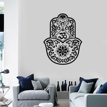 Vinyl Wall Decal Hamsa Lotus Om Hinduism Amulet Home Room Decoration Stickers Mural (ig5594)