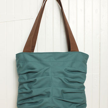 Large Purse Tote Handbag in Teal Blue Weekend Bag