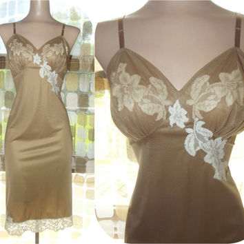 Vintage 50s Mocha Nylon & Chiffon Hourglass Full Slip 34 Cream Lace VANITY FAIR Dress