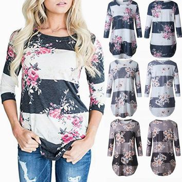 Women's Fashion Floral 3/4 Sleeve Shirt Summer Casual Loose Tops Ladies Blouse
