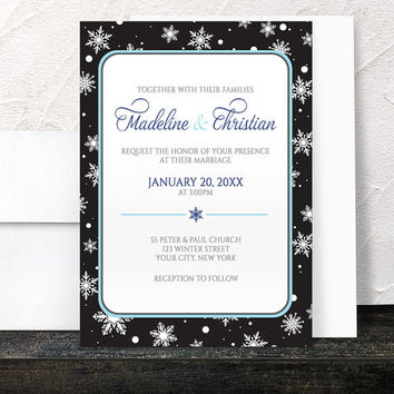 Winter Wedding Invitations - Midnight Snowflake design with Navy Blue and Black - Printed Invitations