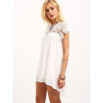 Simple Fashion Hollow Lace Stitching Chiffon Short Sleeve Mini Dress