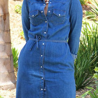 Deep Blue Shirt Collar Long Sleeve Denim Dress with Belt