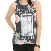 Doctor Who Floral Madman With A Box Sublimation Girls Muscle Top