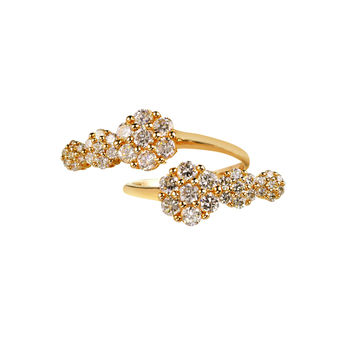 Azira Gold Double Cluster Ring