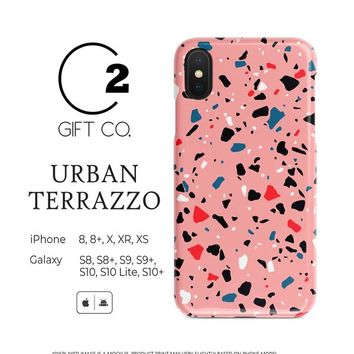 Urban Pink Terrazzo - Heavy Duty Shock Absorption Phone Case Cover For Iphone X, Xr, Xs, 8, 8+ & Samsung Galaxy S10, S10+, S9, S9+, S8, S8+