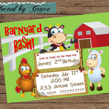DIY PRIntABLE Farm Birthday Party Invitation Barnyard Bash With Cow, Pig and Sheep Customized with your Details