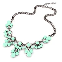 Bestpriceam (TM) Vintage Flower Crystal Bubble Bib Choker Statement Women Necklace (Light Green)