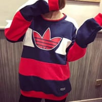 Adidas Fashion New Leaf Print Stripe Retro Splice Women Men Long Sleeve Top Sweater