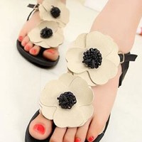 Fashion Flower T-strap Leisure Sandals