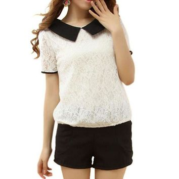 DCCKWJ7 2016 Korea Style Summer Women Girl Lace Lapel Short Sleeve Blouse Tops Loose Peter Pan Collar Back Bowknot Shirt S-XXL