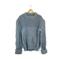 Gray Wool Sweater Thick Cable Knit Pullover Hand Knitted Wool Fisherman Sweater Heavy Woven Grey Knit Chunky Sweater Women's Large